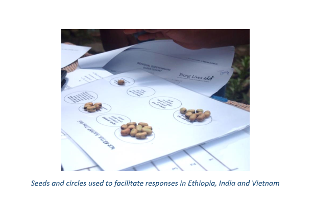 Seeds and circles used to facilitate responses in Ethiopia, India and Vietnam