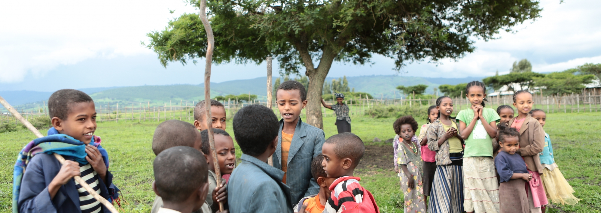 Ethiopia children playing games in groups