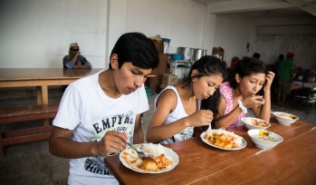 Children eating at the table