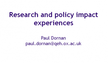 Research and policy impact experiences cover