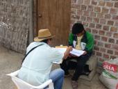 Fieldworker running a survey