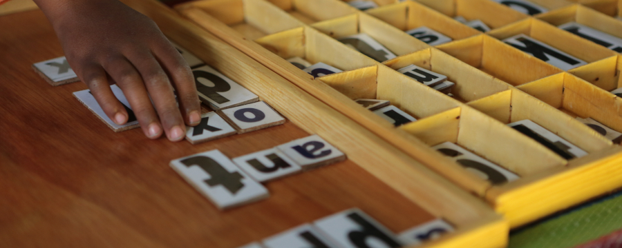 Child playing word game
