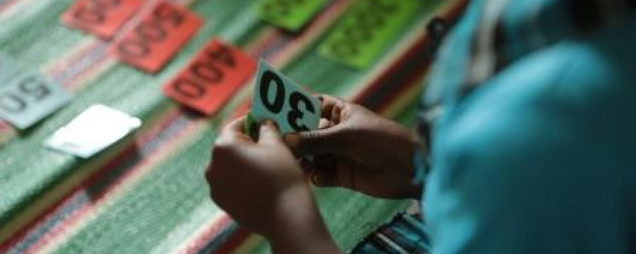 Child playing a number game