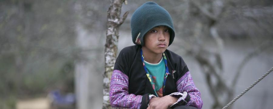 Boy sat by a tree stump