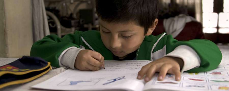Boy working on an exercise book