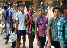 School boys lining up