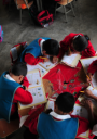 A group of students taking part in school work