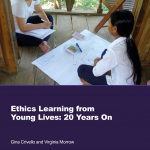 Front cover of Ethics Report by Gina Crivello and Ginny Morrow showing child being interviewed for the YL survey in Vietnam