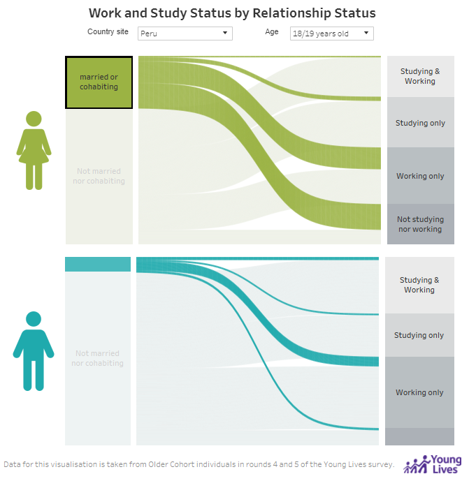 Work and Study Status by Relationship Status